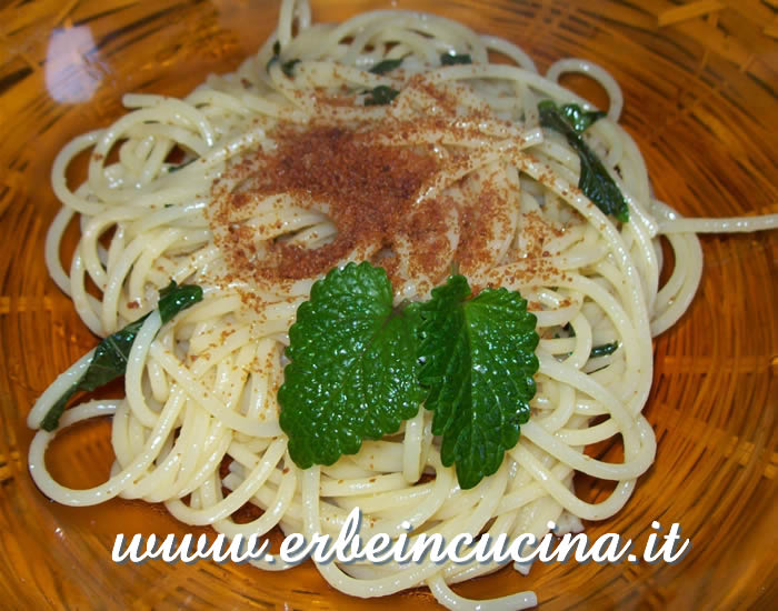 Botargo Spaghetti with Balm Leaves
