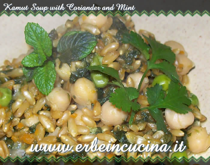 Kamut soup with coriander and mint
