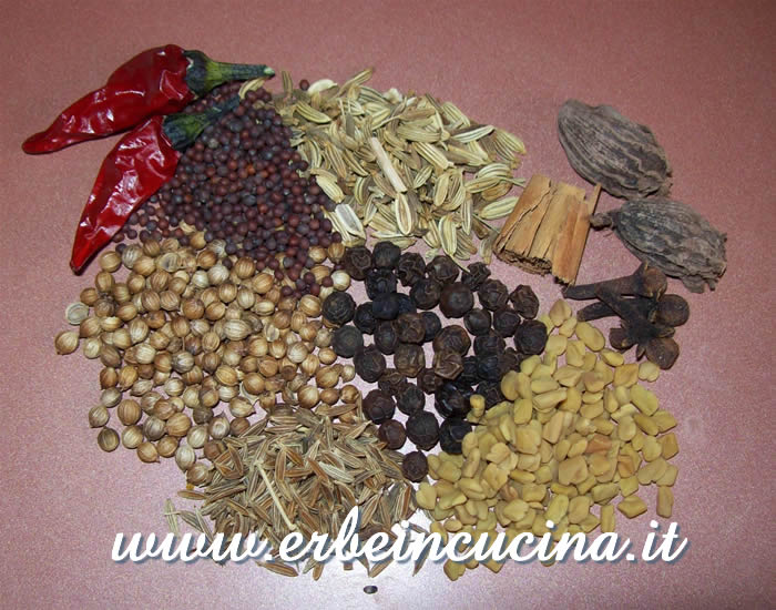 Polvere curry, ingredienti
