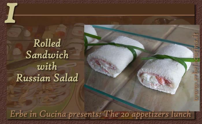 Rolled sandwich with Russian salad