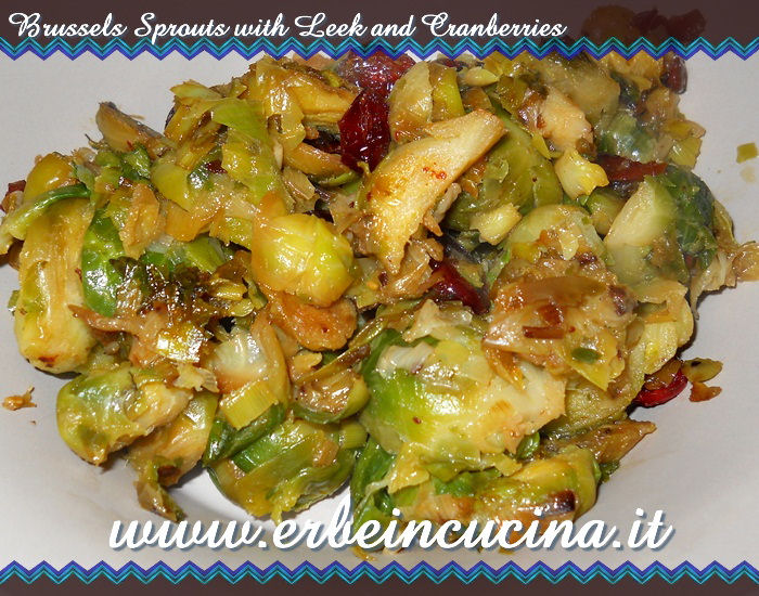Brussels sprouts with leek and cranberries