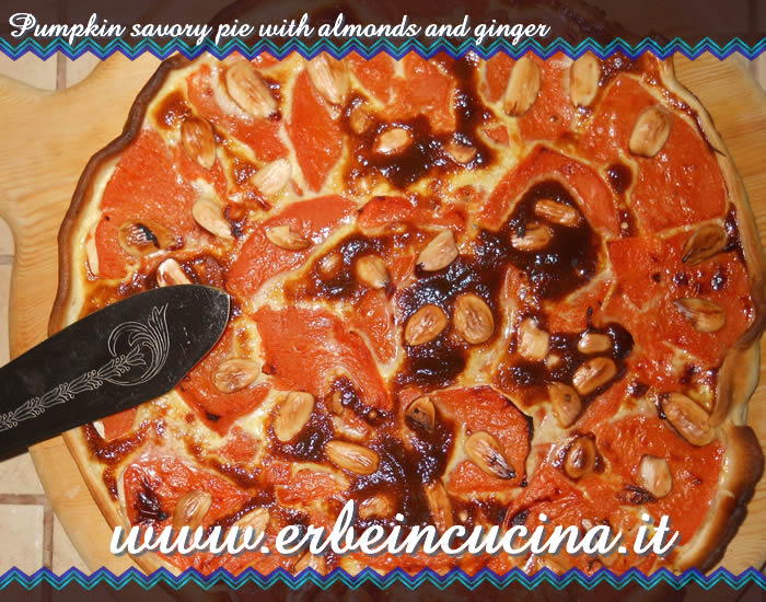 Pumpkin savory pie with almonds and ginger